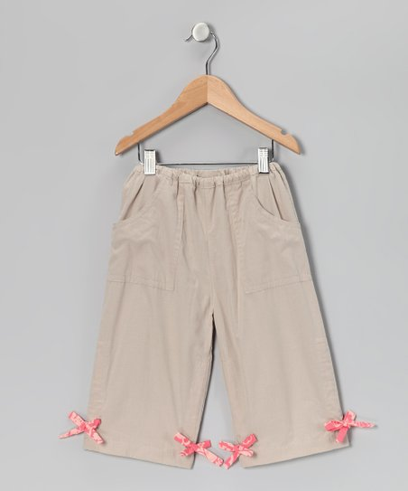Khaki Drawstring Capri Pants - Toddler & Girls