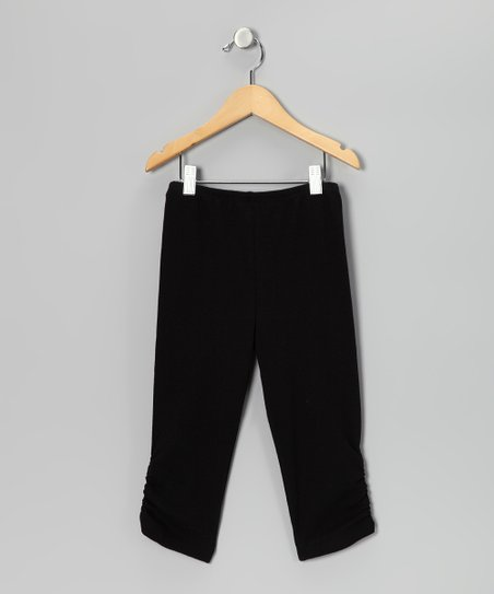 Black Ruched Leggings - Girls