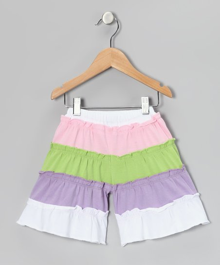 White & Lavender Tiered Gaucho Shorts - Infant, Toddler & Girls
