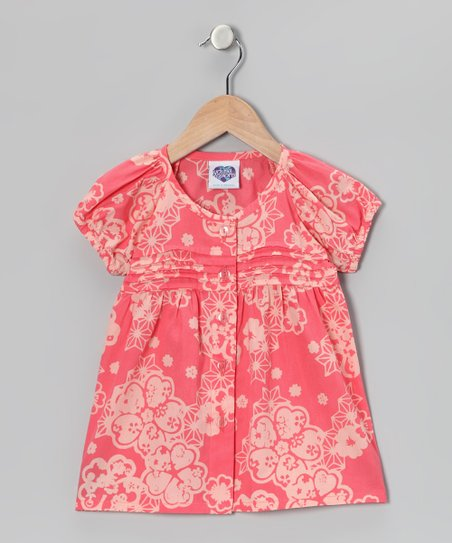 Peach Cobbler Floral Pin Tuck Button-Up Top - Toddler & Girls