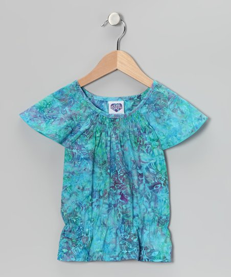 Blue Watercolor Smocked Angel-Sleeve Top - Toddler & Girls