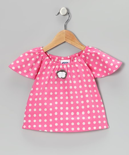 Pink Polka Dot Angel-Sleeve Top - Toddler & Girls