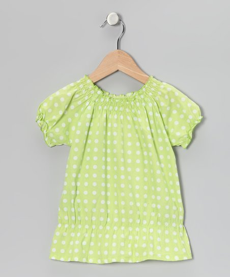 Apple Green Polka Dot Smocked Top - Girls