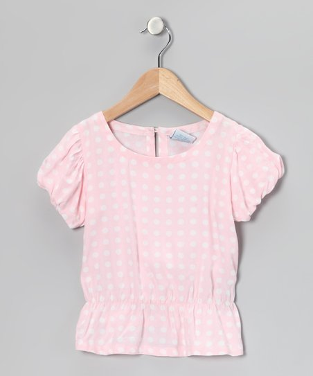 Baby Pink Polka Dot Puff-Sleeve Top - Toddler & Girls