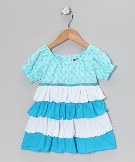 Blue &amp; White Tiered Peasant Top - Toddler &amp; Girls