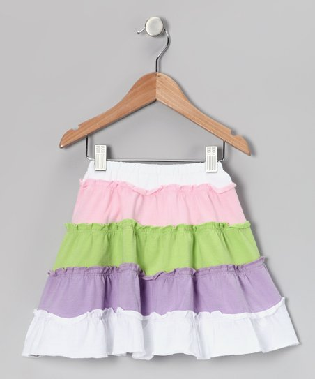 White & Purple Tiered Skirt - Toddler & Girls