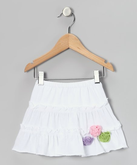 White Flower Tiered Skirt - Infant, Toddler & Girls
