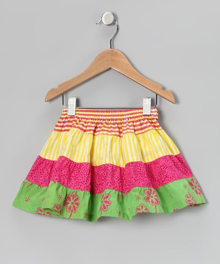 Pink & Yellow Stripe Tiered Skirt - Toddler & Girls