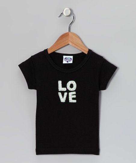 Black & White 'LOVE' Tee - Toddler & Girls