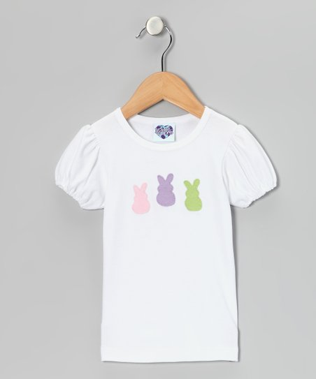 White Bunny Puff-Sleeve Tee - Infant, Toddler & Girls