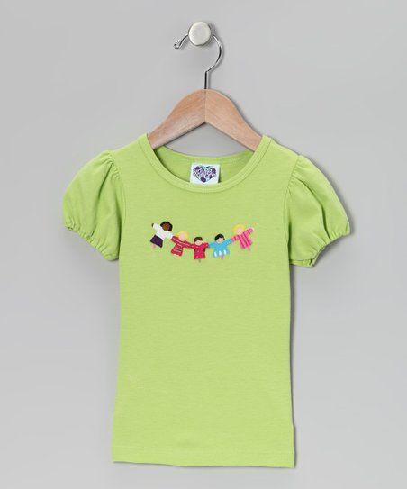 Apple Green Friendship Puff-Sleeve Tee - Infant, Toddler & Girls