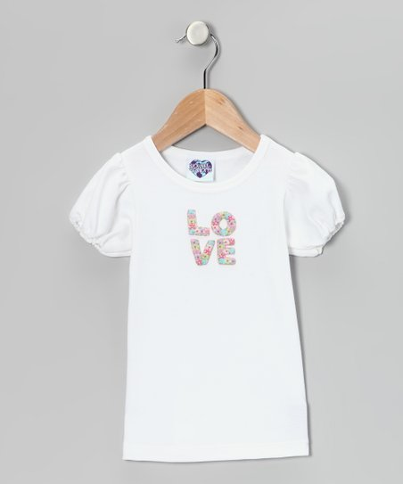 White 'LOVE' Puff-Sleeve Tee - Infant, Toddler & Girls
