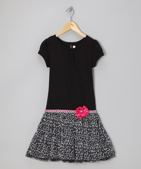 Black Glitter Leopard Dress - Girls