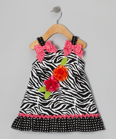 Black Zebra Bow Dress - Infant, Toddler & Girls