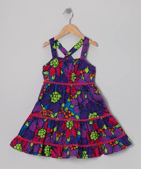 Purple Floral Convertible Dress - Girls