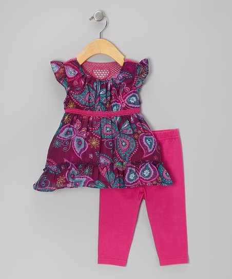 Magenta Butterfly Tunic & Leggings - Infant
