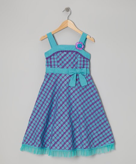 Teal & Purple Gingham Dress - Girls