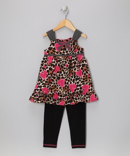 Brown Leopard Heart Tunic & Black Leggings - Infant, Toddler & Girls