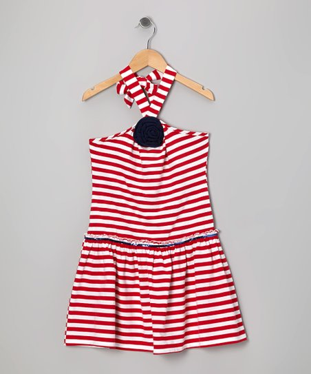 Red Stripe Halter Dress - Girls