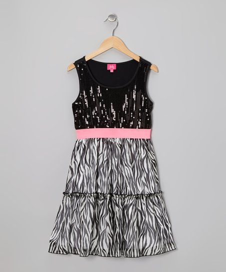 Black Zebra Sequin A-Line Dress - Girls