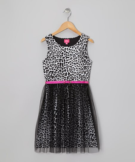 Black Leopard A-Line Dress - Girls
