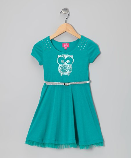 Jade Jewel Owl A-Line Dress - Girls