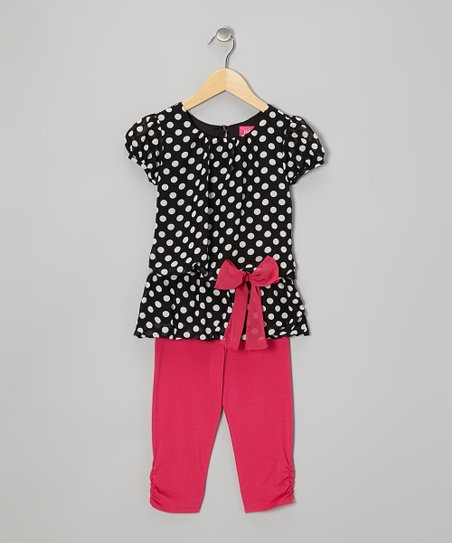 Black Polka Dot Tunic & Pink Leggings - Toddler & Girls