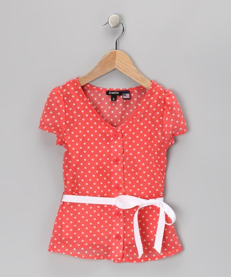 Coral Polka Dot Button Blouse - Girls