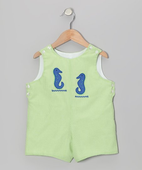 Lime Gingham Sea Horse Shortalls - Infant & Toddler
