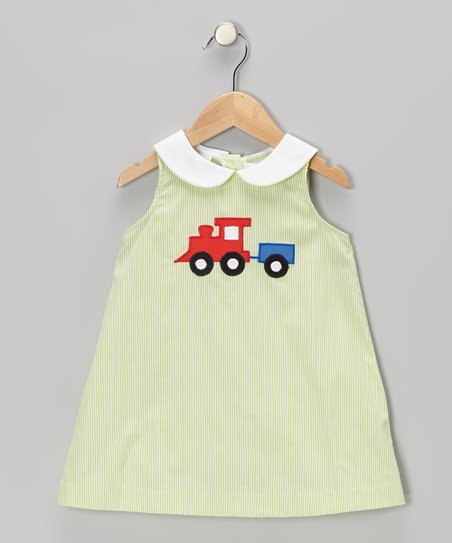 Lime Stripe Train Swing Dress - Toddler & Girls