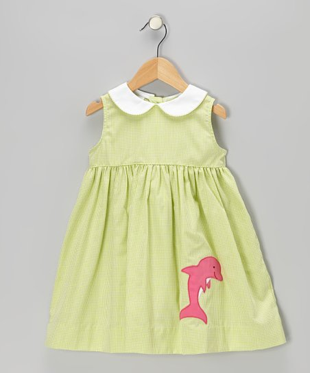 Lime Gingham Dolphin Sundress - Toddler & Girls