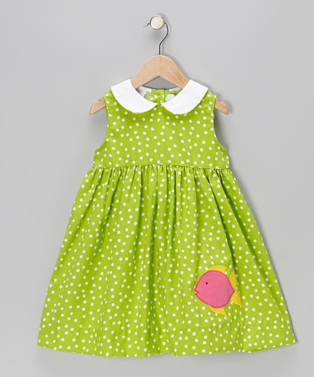Lime Polka Dot Fish Sundress - Toddler & Girls