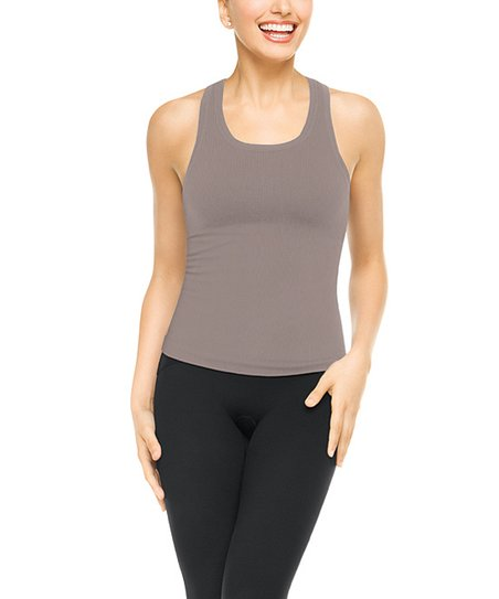 Ribbed Racerback Tank - Steely Gray