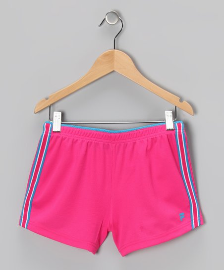 Pink Glow Mesh Shorts - Girls