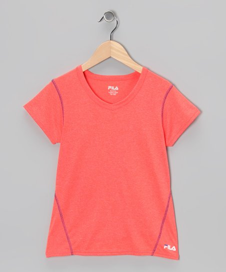 Heather Fiery Coral Tee - Girls