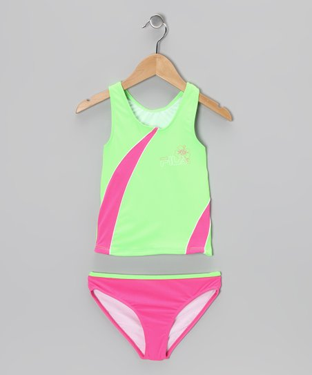 Lime & Pink Stripe Tankini - Girls