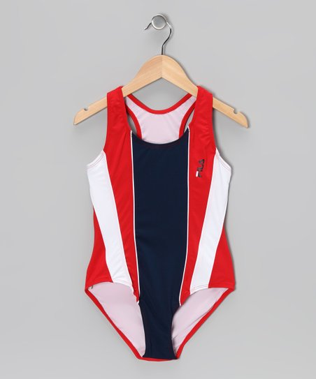 Red & Navy Color Block One-Piece - Girls