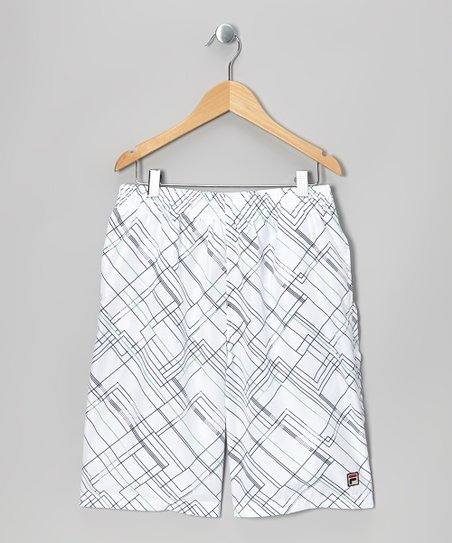 White Geometric Shorts - Toddler & Boys
