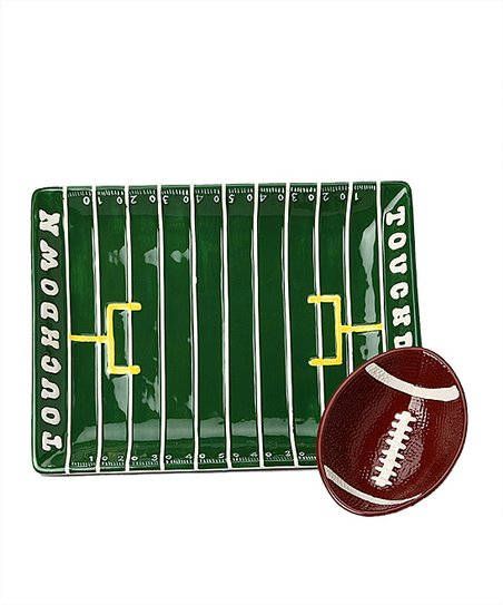 Green &amp; Brown Touchdown Field Chip &amp; Dip Set