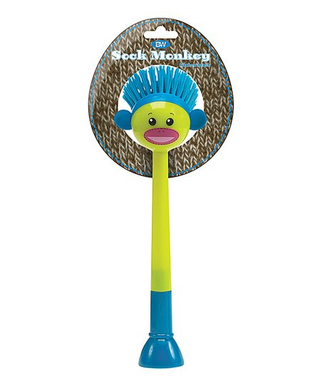 Green Sock Monkey Kitchen Brush