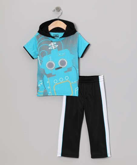 Blue Robot Layered Tee & Track Pants - Infant & Toddler