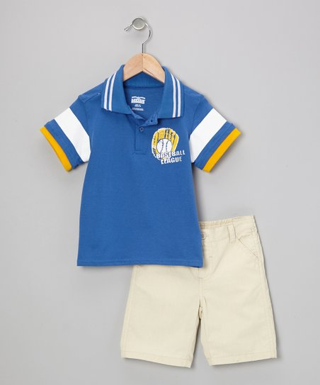 Blue 'Baseball' Polo & Shorts - Infant, Toddler & Boys
