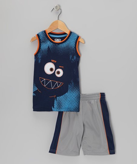 Navy Monster Tank & Gray Shorts - Infant & Toddler