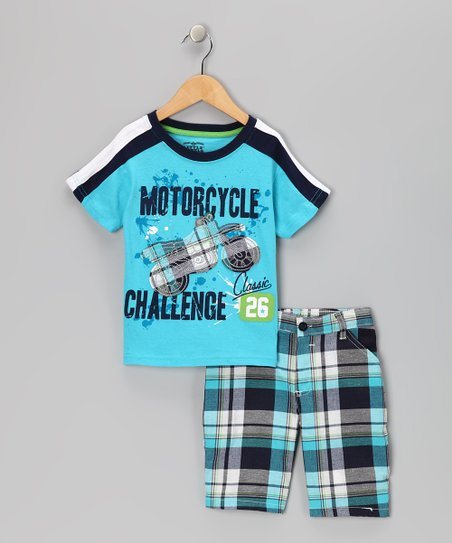 Blue 'Motorcycle Challenge' Tee & Shorts - Toddler