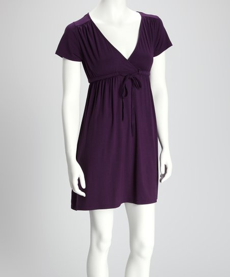 Purple Ruched Short-Sleeve Dress
