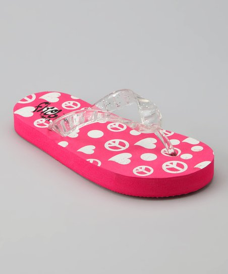 Pink Peace & Hearts Light-Up Flip-Flop
