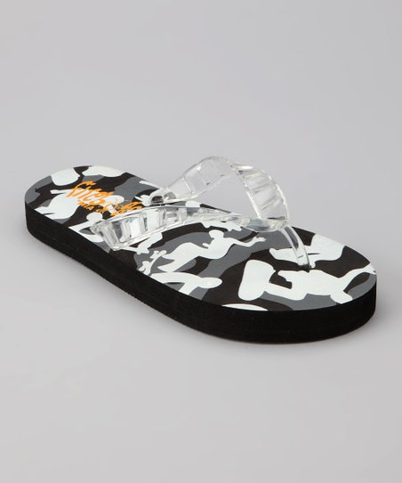 Black &amp; Gray Skate Light-Up Flip-Flop
