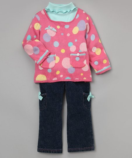 Pink Intarsia Sweater Set - Girls