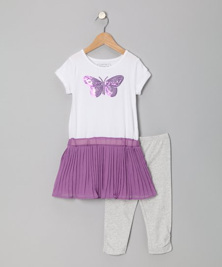 Sahara Purple Butterfly Dress & Leggings - Toddler & Girls