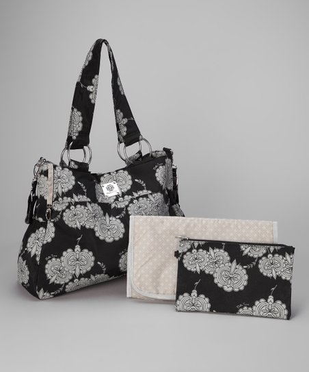 Navy Floral Beautifully Basic Diaper Bag